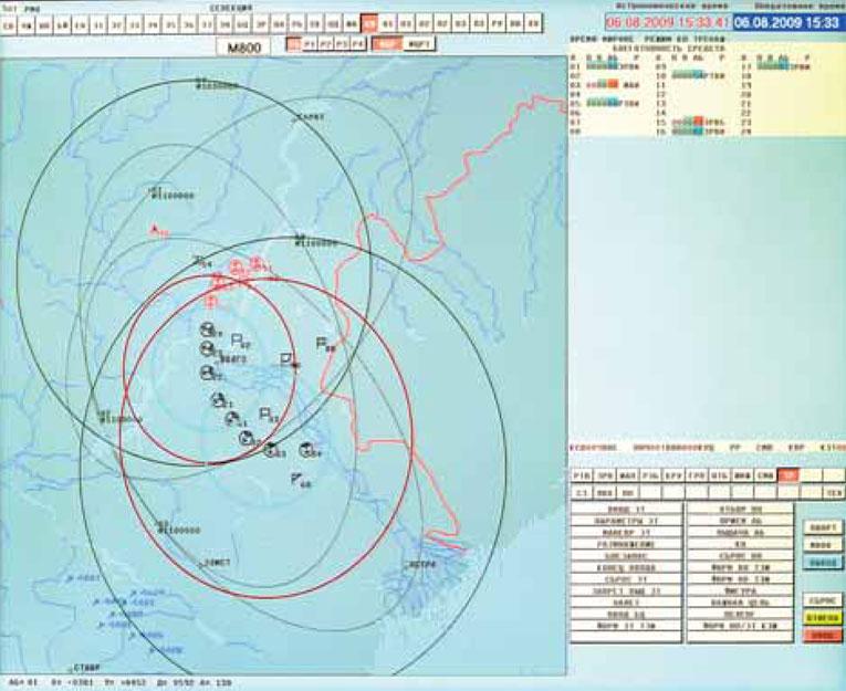 Примерный вид информации о воздушной обстановке на АРМ
