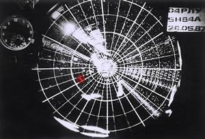 РЛС 5Н84А ''Оборона'' радиотехнического батальона (г. Вышний Волочек) 2-го корпуса ПВО Московского округа ПВО сопровождает самолет Матиаса Руста. Московское время 16.48, азимут цели 234, дальность 75 километров. Фотоархив ''ВКО''